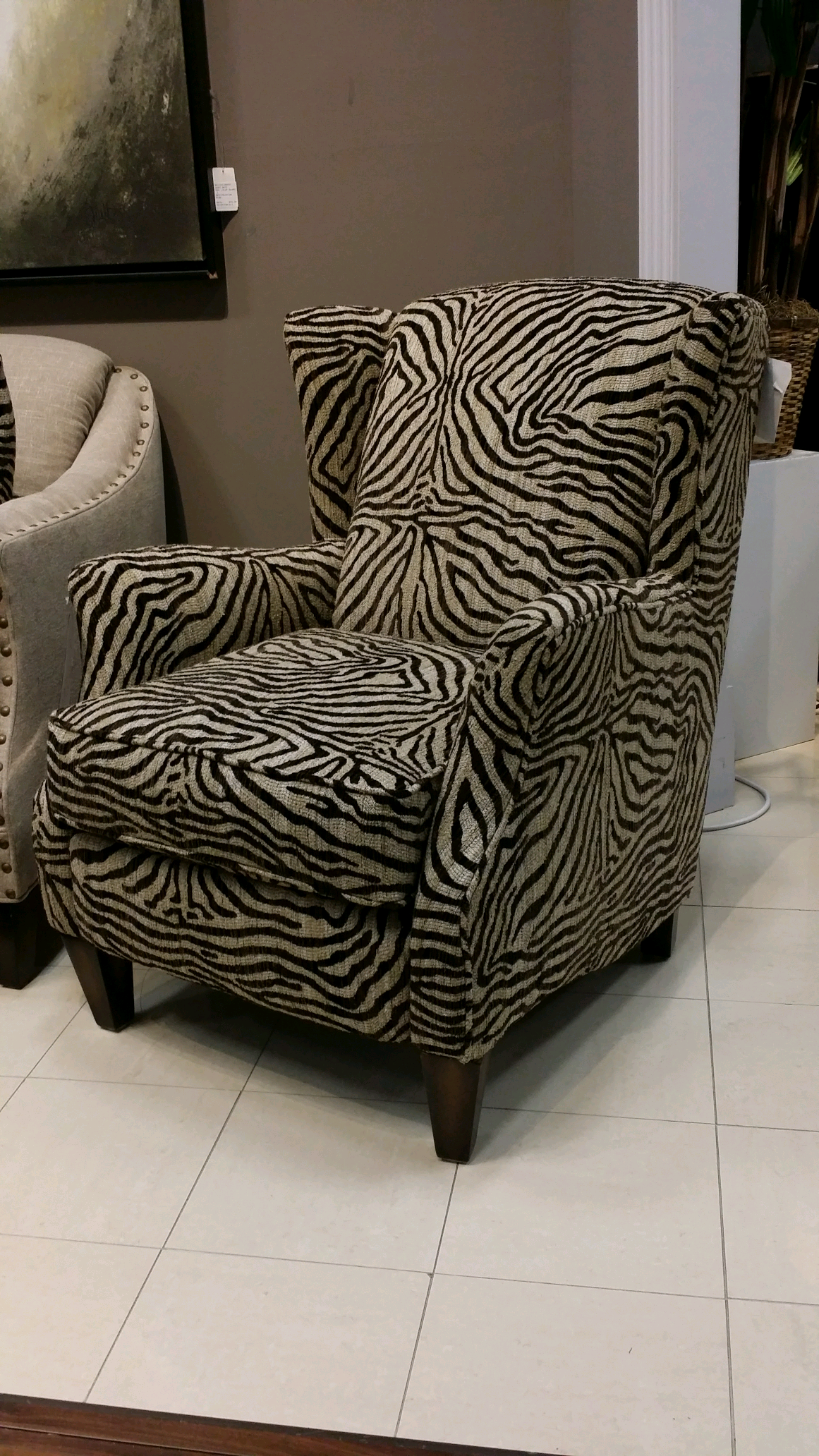 Add some pizzazz to your home with this boldly patterned zebra print accent chair this piece will add that important element of visual interest into your