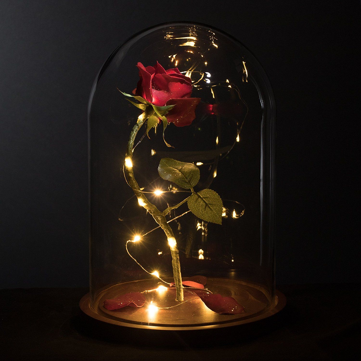 4 Style LED Gold Rose In Glass Dome Beauty And The Beast