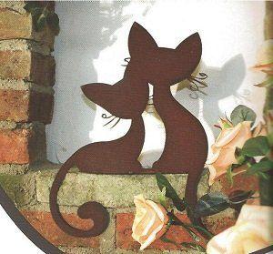 Deko Dekofigur Gartenfigur Metallfigur Katze Edelrost braun Gartenstecker