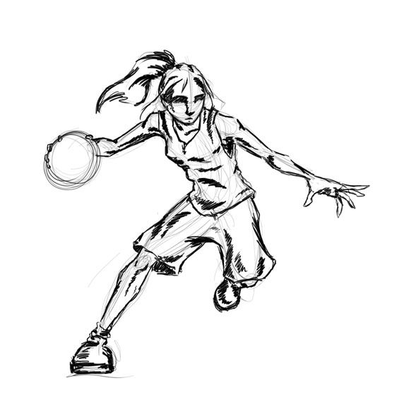 Pin By Sarah Coene On School Basketball Drawings Basketball Art Girl Drawing