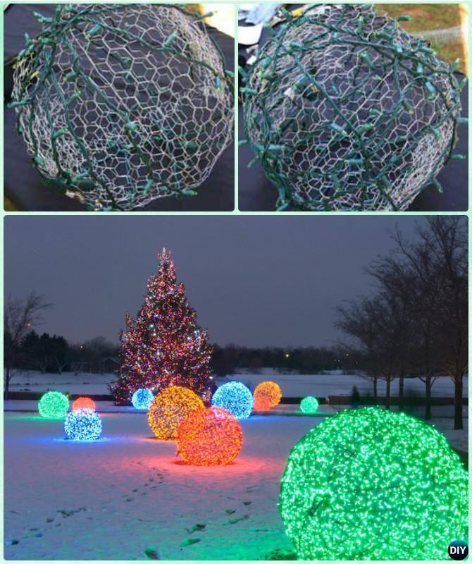 DIY Chicken Wire String Lights Christmas Ball Light Instruction -DIY  Christmas Lights Ideas Crafts - DIY Chicken Wire String Lights Christmas Ball Light Instruction -DIY