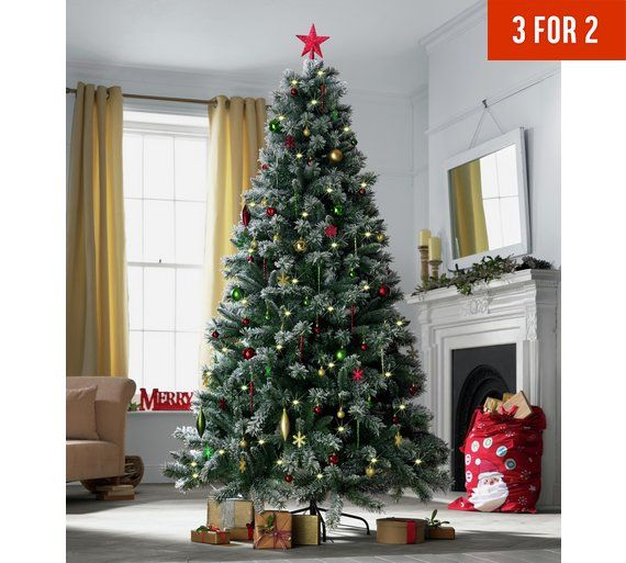 Buy Argos Home 7ft Pre Lit Snow Tipped Christmas Tree Green Christmas Trees Argos Green Christmas Tree Christmas Tree Christmas Tree Clear Lights
