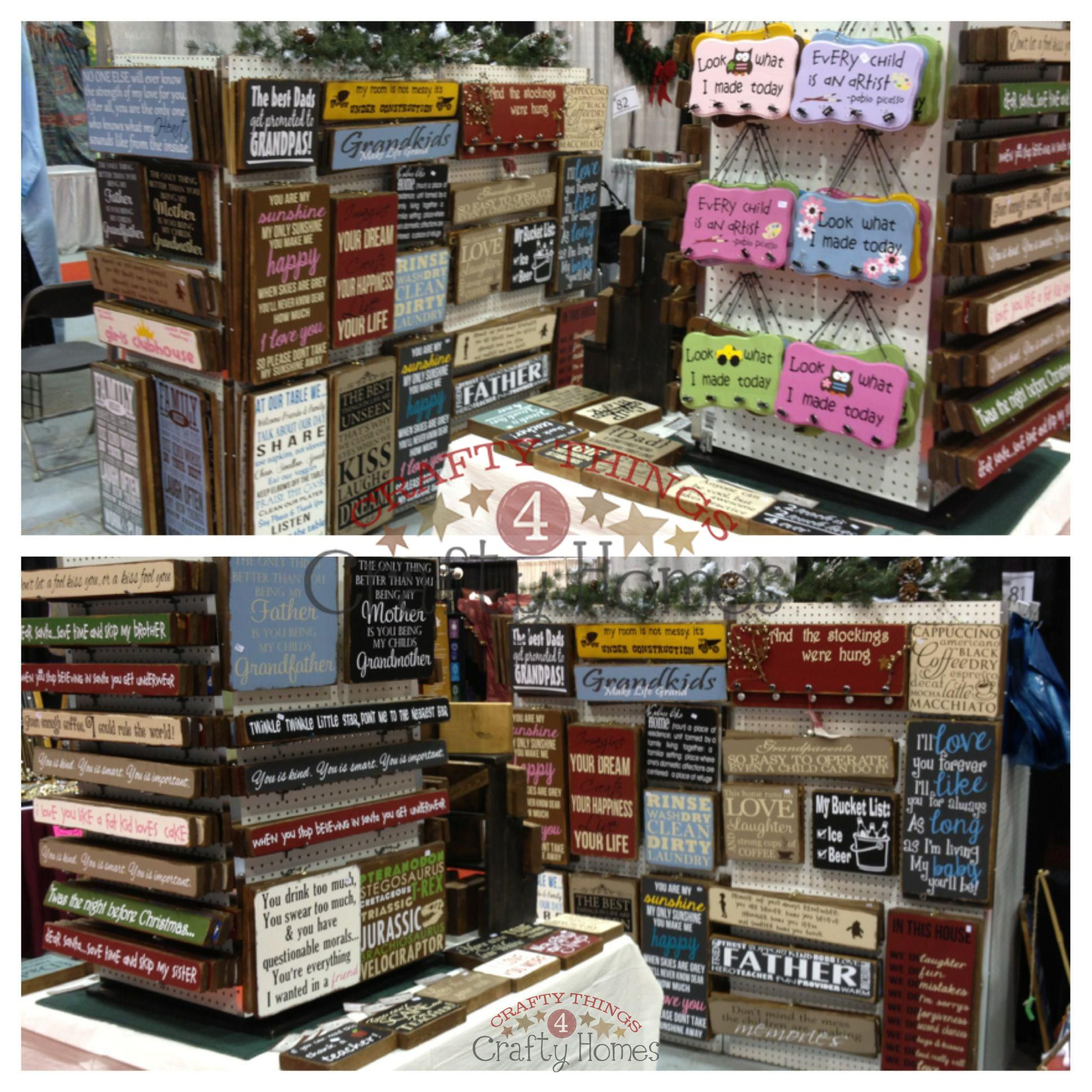 Love this booth set up idea look how the signs are for How to display wood signs at craft show