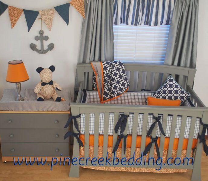 Navy Orange And Grey Crib Bedding In A Nautical Nursery