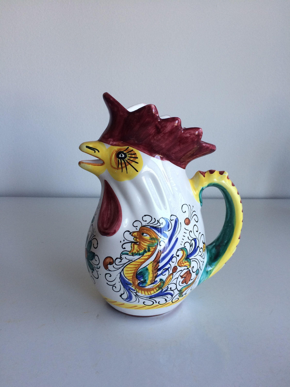 "DERUTA POTTERY ITALY ARABESCO BIRD ROOSTER PITCHER 8/"" NEW"