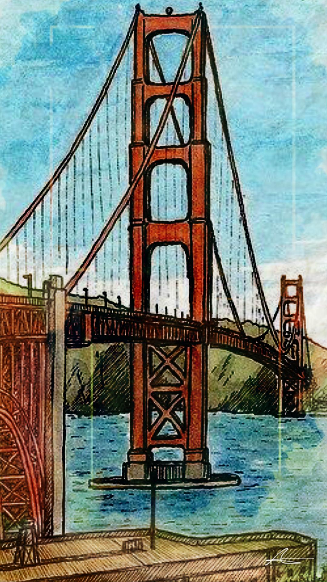 Sketch Goldengate Sanfrancisco California Dibujos