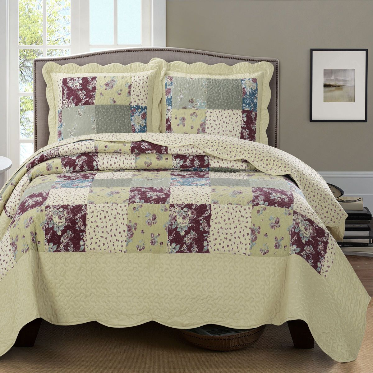 Superb Tania Full Size Coverlet Over Sized 3 Pc Set Luxury Microfiber Quilt