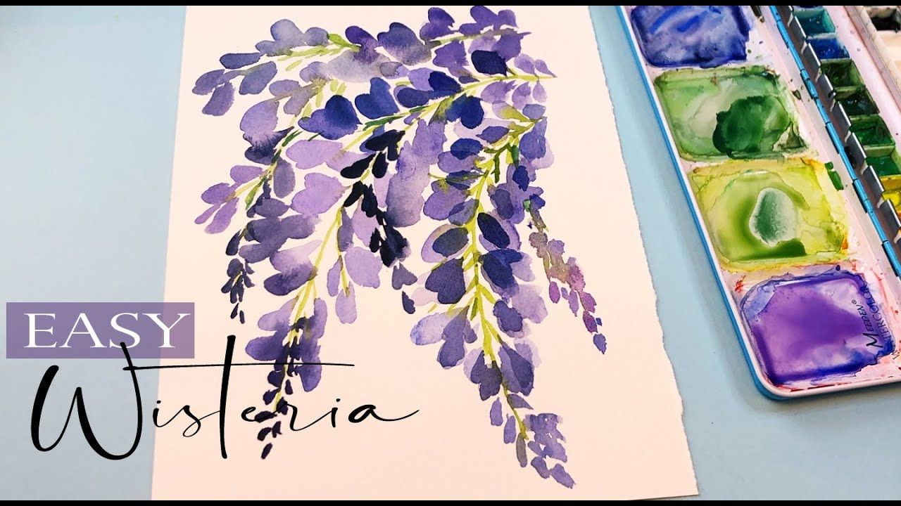 Wisteria Painting Tutorial Step By Step Watercolor Easy For