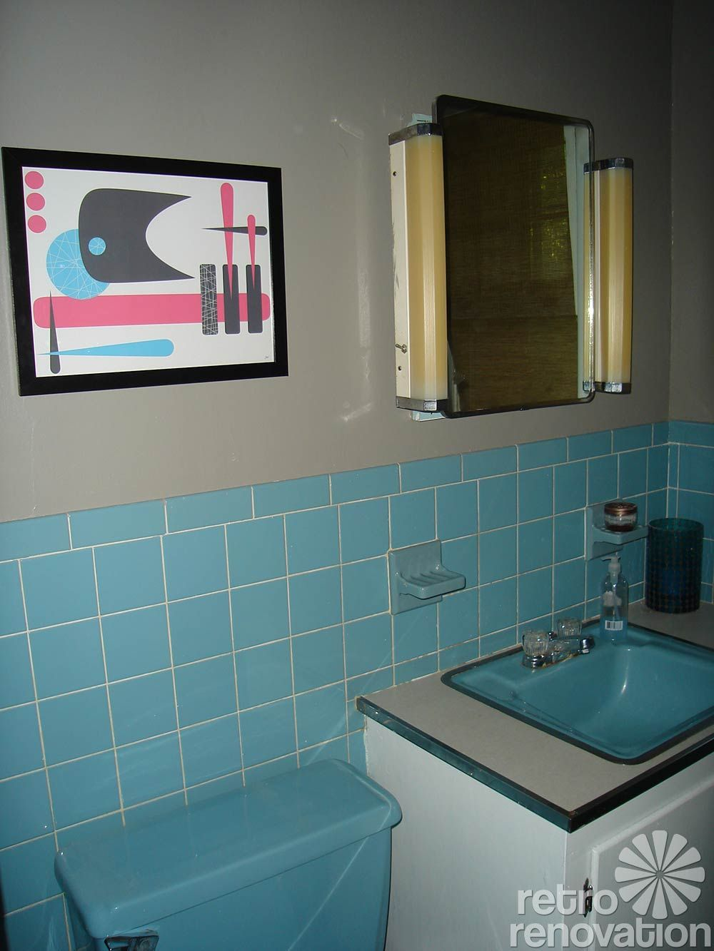 My Parents Had A Blue Tile Bathroom Blue Sink Tub Toilet Blue Bathroom Tile Light Blue Bathroom Retro Bathrooms