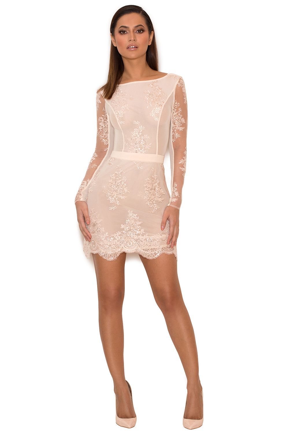 Clothing bodycon dresses usatheau light pink lace and sequin