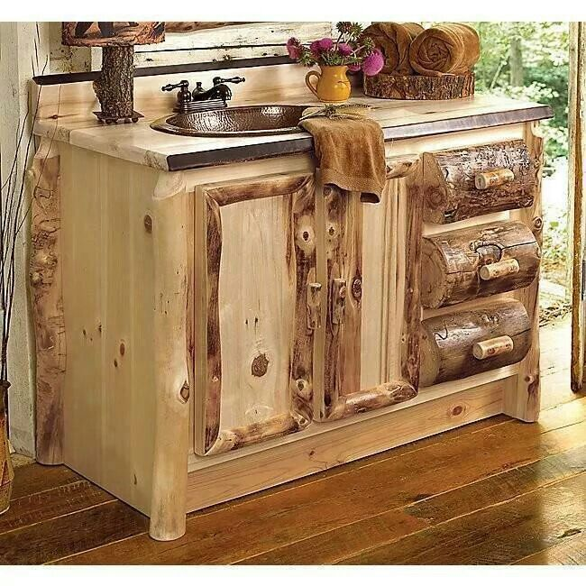 Rustic Knotty Pine Bathroom Vanity With Hand Carved Details.