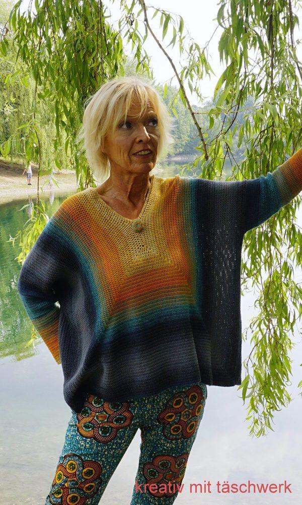 """Der """" Ponchollover Simple""""! Dieser farbenfrohe Pullover, ist durch seinen weiten Schnitt, sehr leicht an alle Größen anpassbar. Eine Mischung aus Poncho (durch die Weite) und Pullover (durch die Ärmel), daher auch der Name """"Ponchollover"""". Auch Anfänge"""