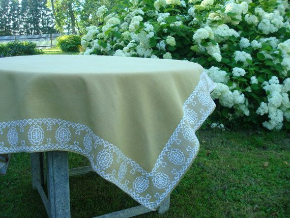 Attirant Olive Green U0026 White Vintage Tablecloth Size 48 X By OLaLaVintage, $29.00