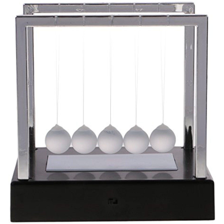 Newtons Cradle Light Up Pendulum Physics Gift Balance Ball Desk Ornament Decor