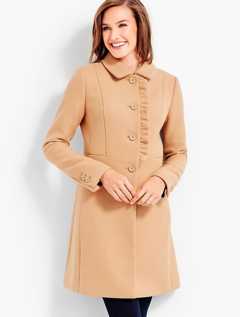 Ruffle Melton Coat Talbots Wardrobe Style Style Coat [ 1057 x 800 Pixel ]