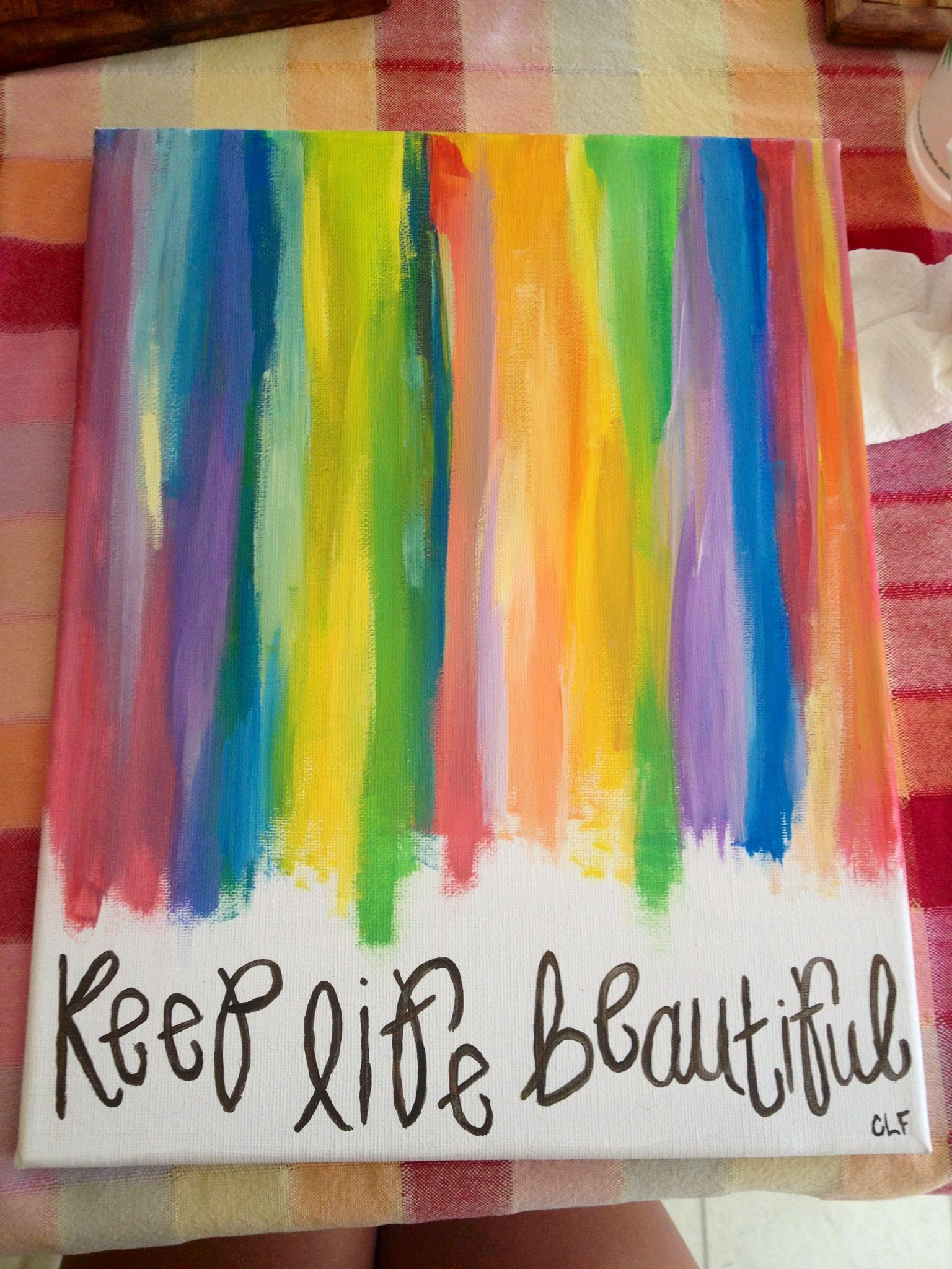 Keep Life Beautiful Canvas Do With Crayon Art Instead Of Paint