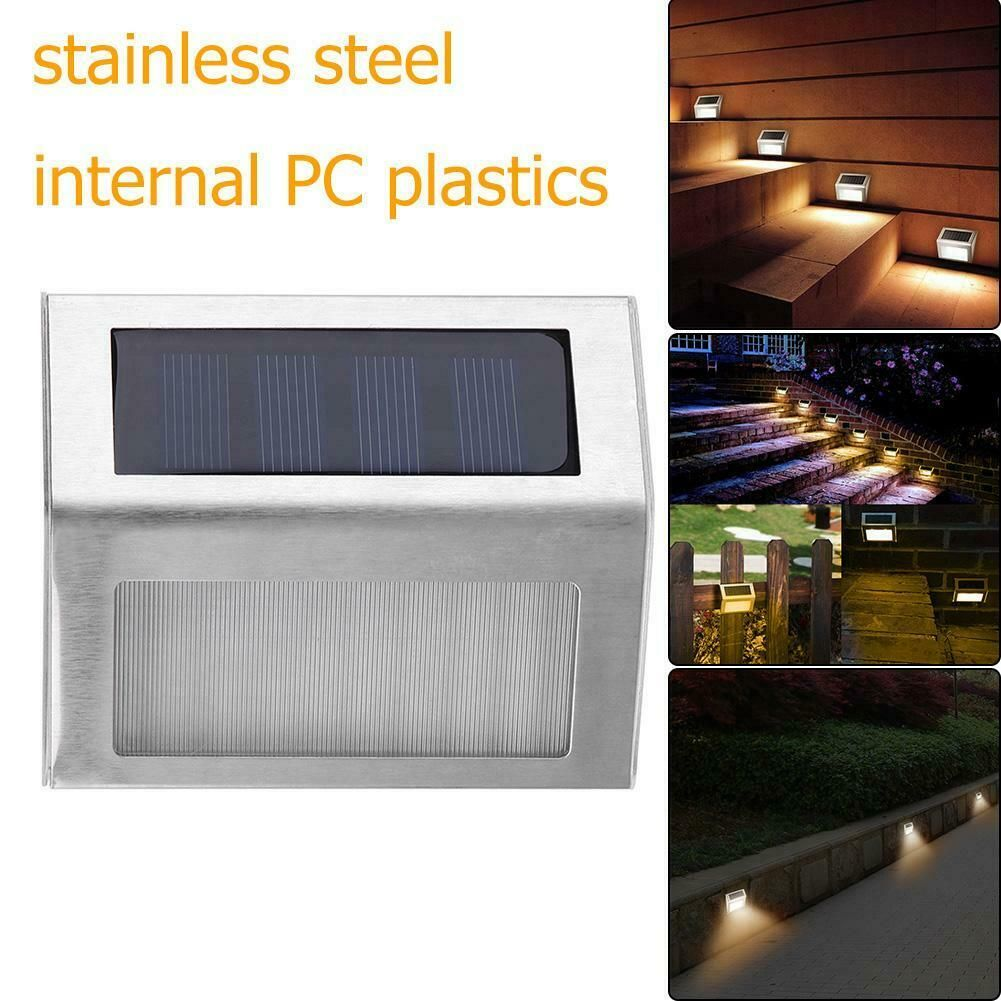1 4pcs Stainless Steel 3led Solar Stair Light Outdoor Garden Pathway Street Lamp Solar Lamp Solarlamp Solar 1 4pcs Stainless Steel 3led Sola Solar Lamp