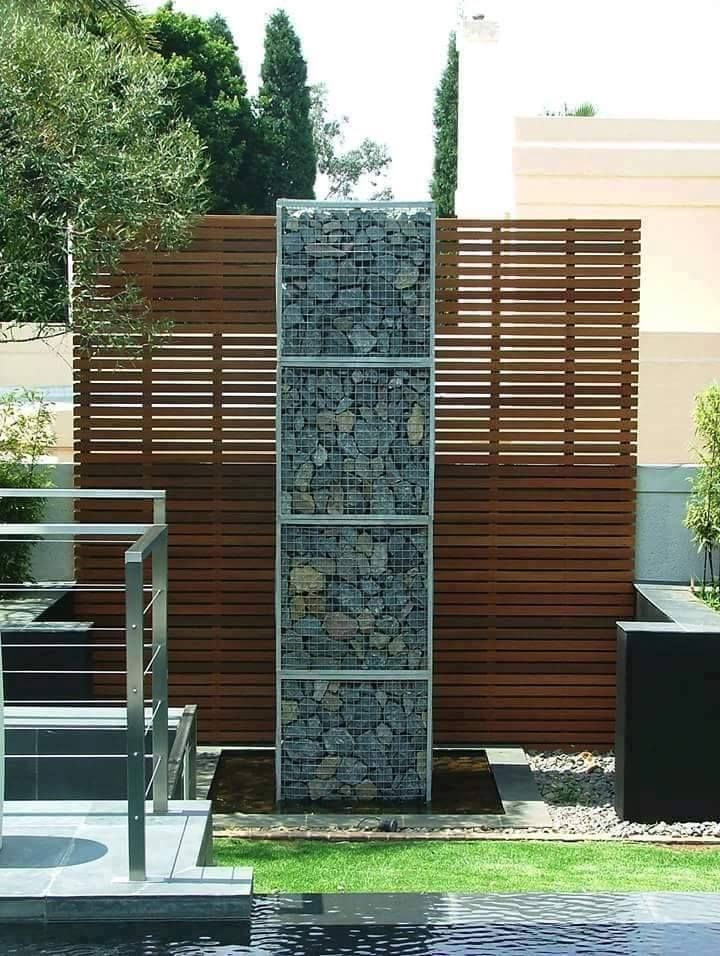 gabion, slat wood & wire cable walls | Fences, gates and outdoor ...