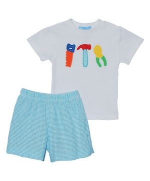 Monday's Child White Tools Tee & Blue Shorts - Infant, Toddler & Boys by Monday's Child #zulily #zulilyfinds