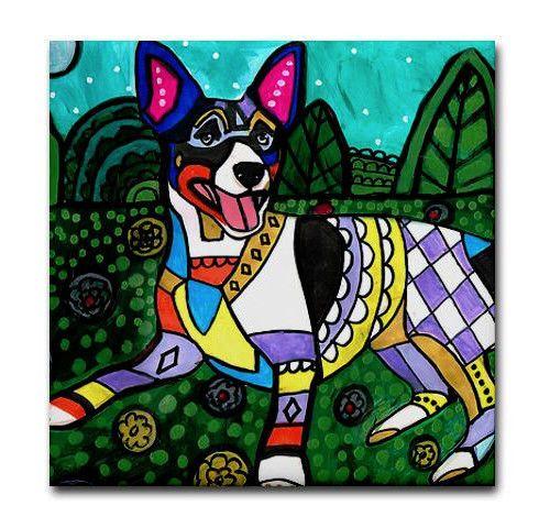 DOGS QUILTING gift animal ceramic  dog art tile coaster