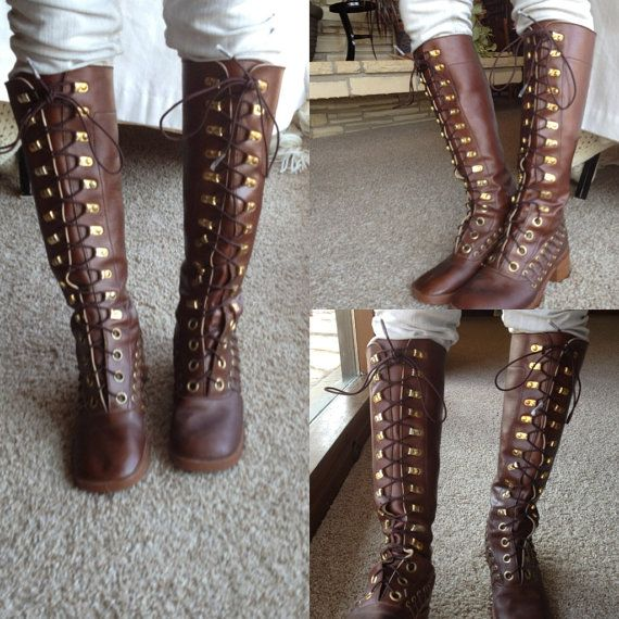 """Almost Famous"" 70s lace-up boots in perfect wearable condition. Vintage Etsy. Size 6.5 - 7.5."