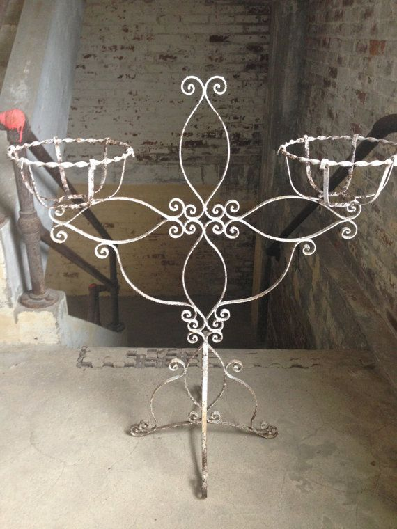 Shabby Chic Plant Stand Vintage Wrought Iron By Daretobevintage