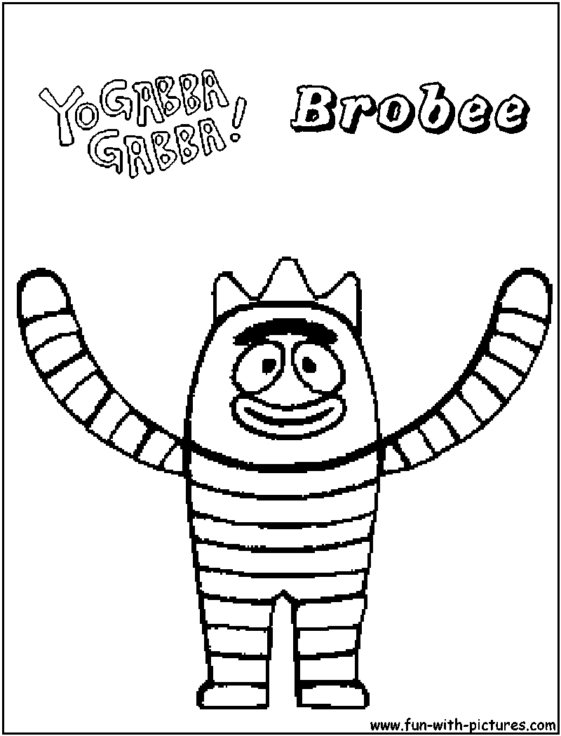 Yo Gabba Gabba Brobee Coloring Pages Nick Jr Coloring Pages Color