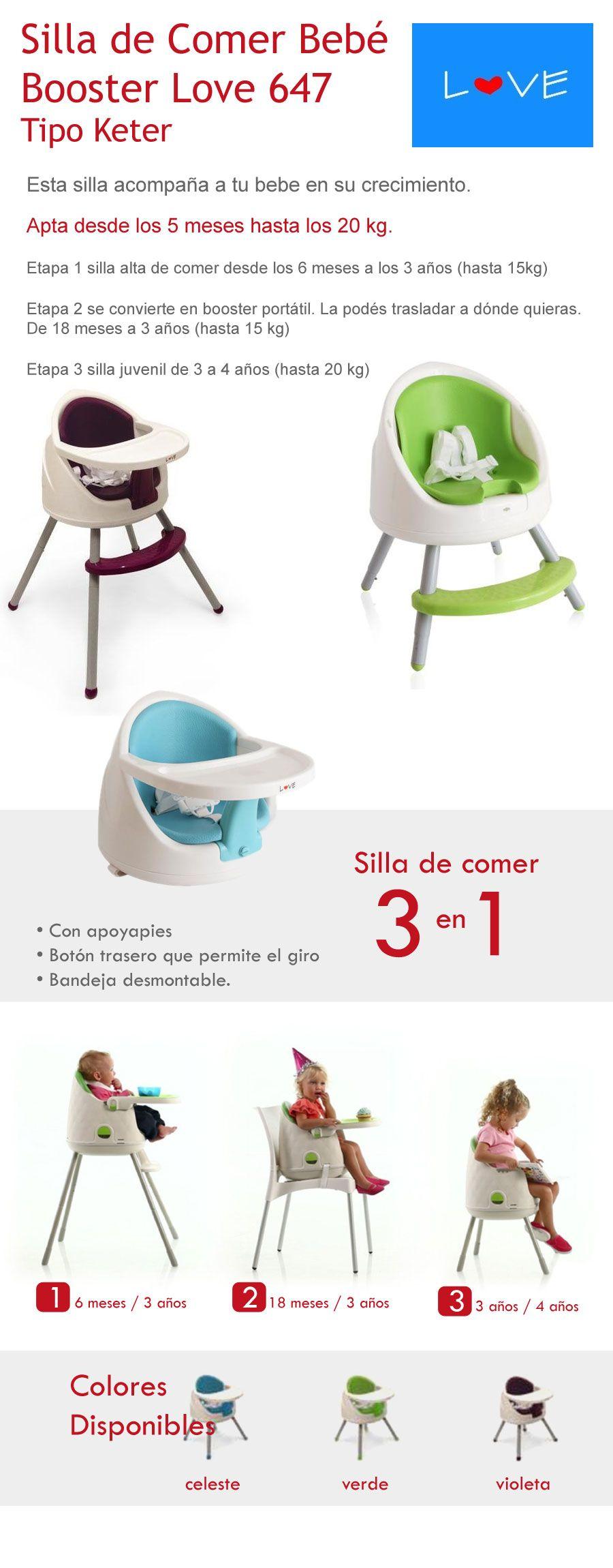 919d7986d Silla De Comer Bebe Booster 3 En 1 Love 647 T Y P - $ 1.239,00 en  MercadoLibre