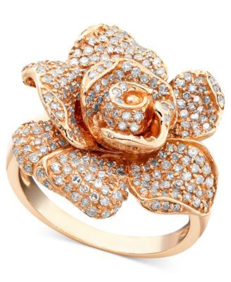be87baae19d27 Effy Pave Rose by Diamond Ring in 14k Rose Gold (1-1/8 ct. t.w.) in ...