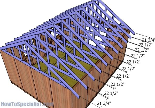 16x20 Gable Shed Roof Plans Howtospecialist How To Build Step By Step Diy Plans Shed Roof Metal Roof Roof Plan