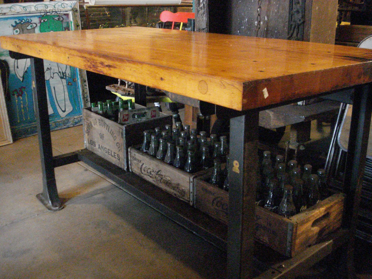 Antique Butcher Block Table With Metal Base And Lower Shelve 87000