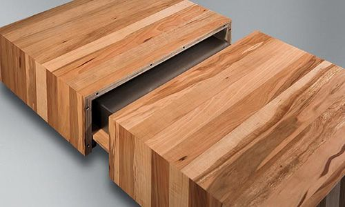 Wooden Coffee Tables With Sliding Top And Burner Kit By Schulte Design