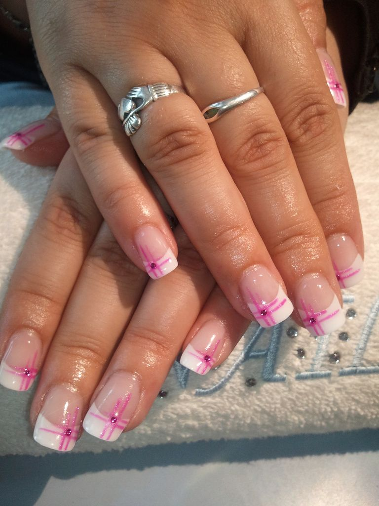 French avec strass recherche google ongle pinterest google french nails and manicure - French ongle gel ...