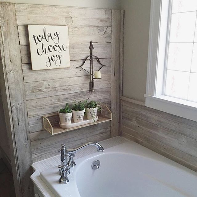 Shiplap wall in this farmhouse bathroom farmhouse style for Wood bathroom wall decor