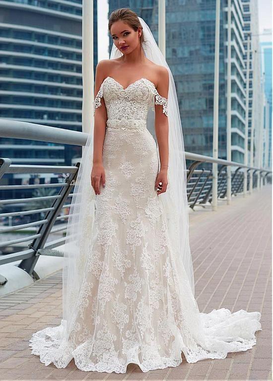 comprar Fabuloso Lace Off-the-hombro vestido de boda sirena con ...