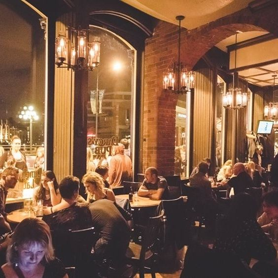 Darcy's in Victoria, Canada - The downtown location of Darcy's Pub is, of course, housed in a gorgeous historical building, with an inviting wood and brick interior that glows at night from the street lights and mood lighting within.