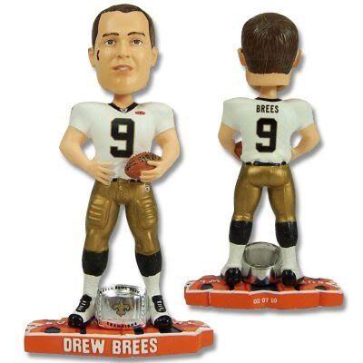 f864ad56d03 New Orleans Saints Rare 8inch NFL Super Bowl Drew Brees Championship ring  base bobblehead