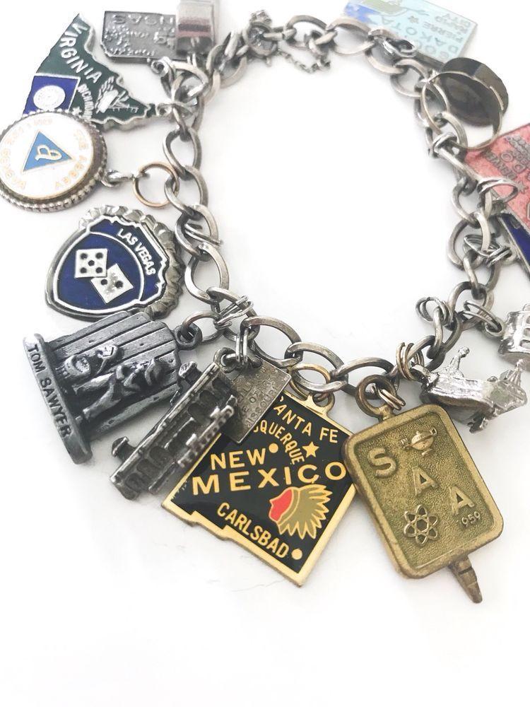 Vintage Sterling Silver Travel Charm Bracelet Rare Enamel 16 Charms 1950s Bracelets