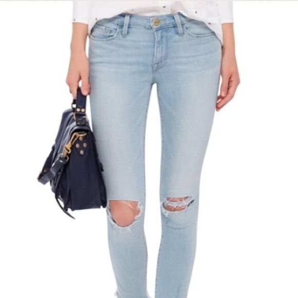 NWOT Frame destroyed skinny jeans Brand new never worn. Mid rise. Light wash. Size 26, stretchy elastic denim. Brand is FRAME DENIM, retails for $280+. There is distress in these jeans so that varies with the picture but it's no more than the usual amount Hudson Jeans Jeans Skinny