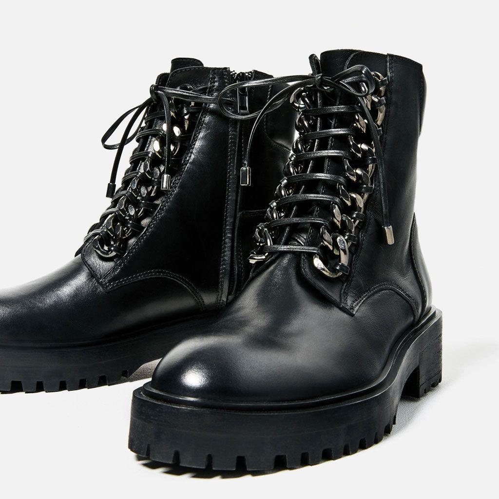 bottines en cuir avec dÉtail chaÎne | love shoes | pinterest