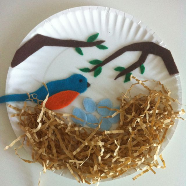 Robin S Nest Kids Craft With Paper Plate Felt And Shredded Pa