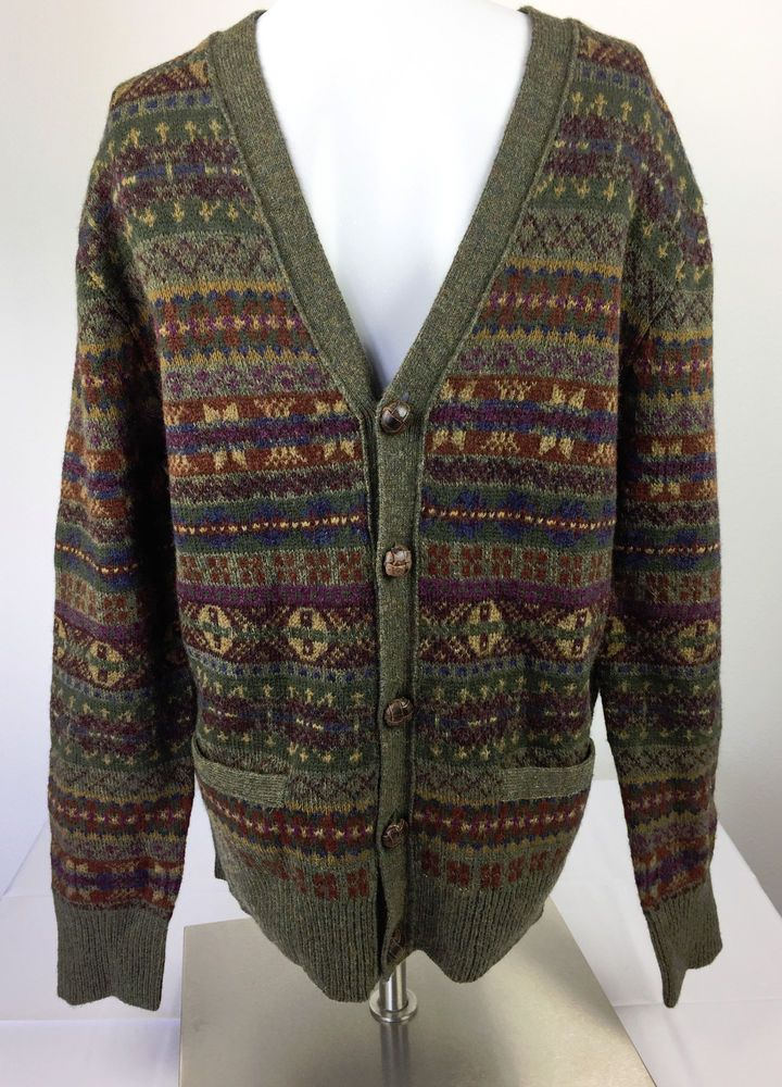 NWT Polo Ralph Lauren Fair Isle Green Wool Leather Cardigan ...