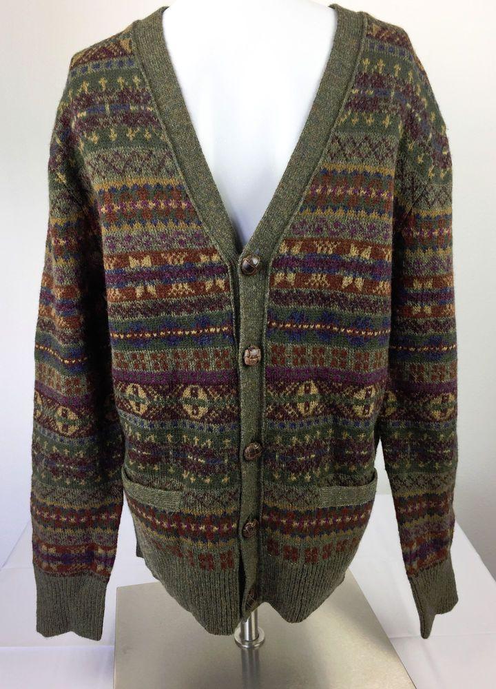 fa249bda9 NWT Polo Ralph Lauren Fair Isle Green Wool Leather Cardigan Sweater Men s  Medium  PoloRalphLauren  Cardigan  RalphLauren  Polo  sweater