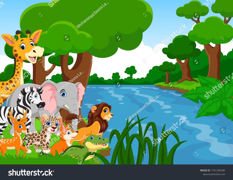 Vector Illustration Of Wild Animals In The Forest Ad Ad Illustration Vector Wild Forest Jungle Pictures Picture Talk Animals Wild