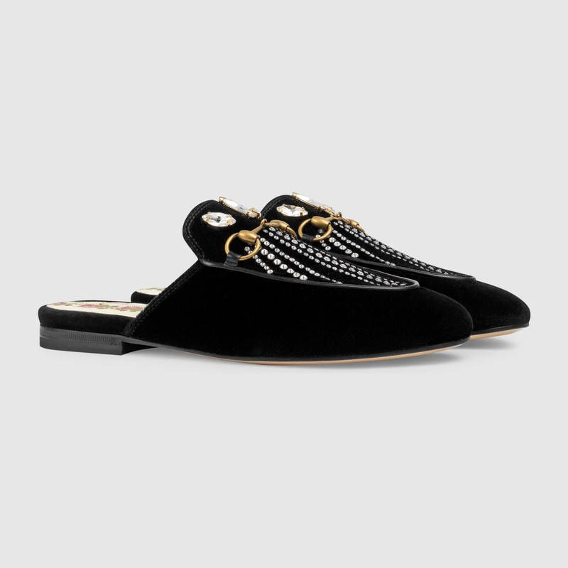 6fe01d7722f Gucci Princetown velvet slipper with crystals Detail 2