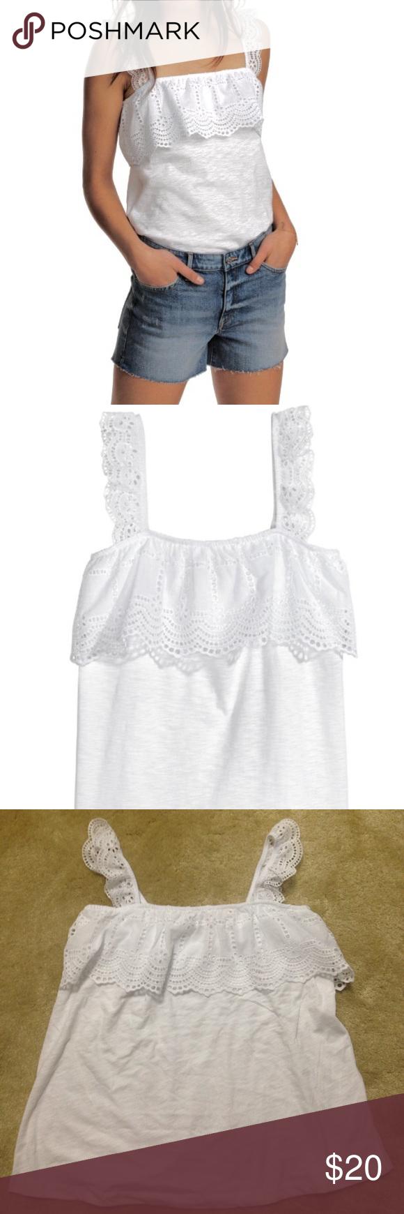 H&m lace dress white  HuM white ruffle eyelet embroidered top NWT  My Posh Picks