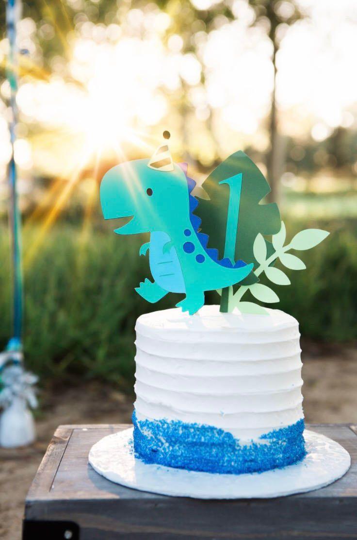 Dinosaur Cake Topper Smash First Birthday By ApplesModernArt On Etsy