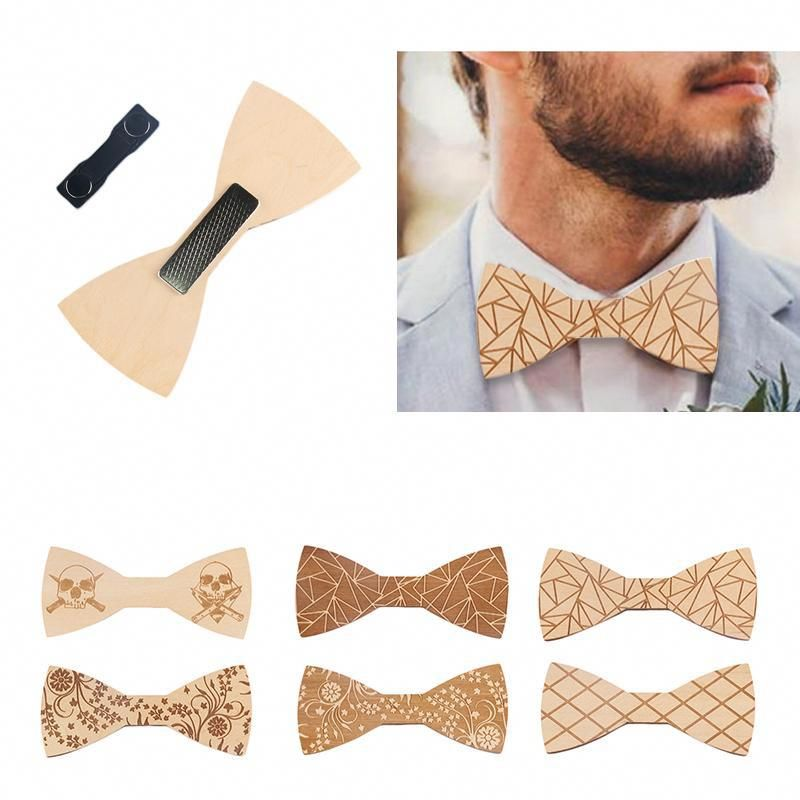 New Men Handmade Wooden Bow Tie Wedding Wood Butterfly Bowtie Fashion Gift