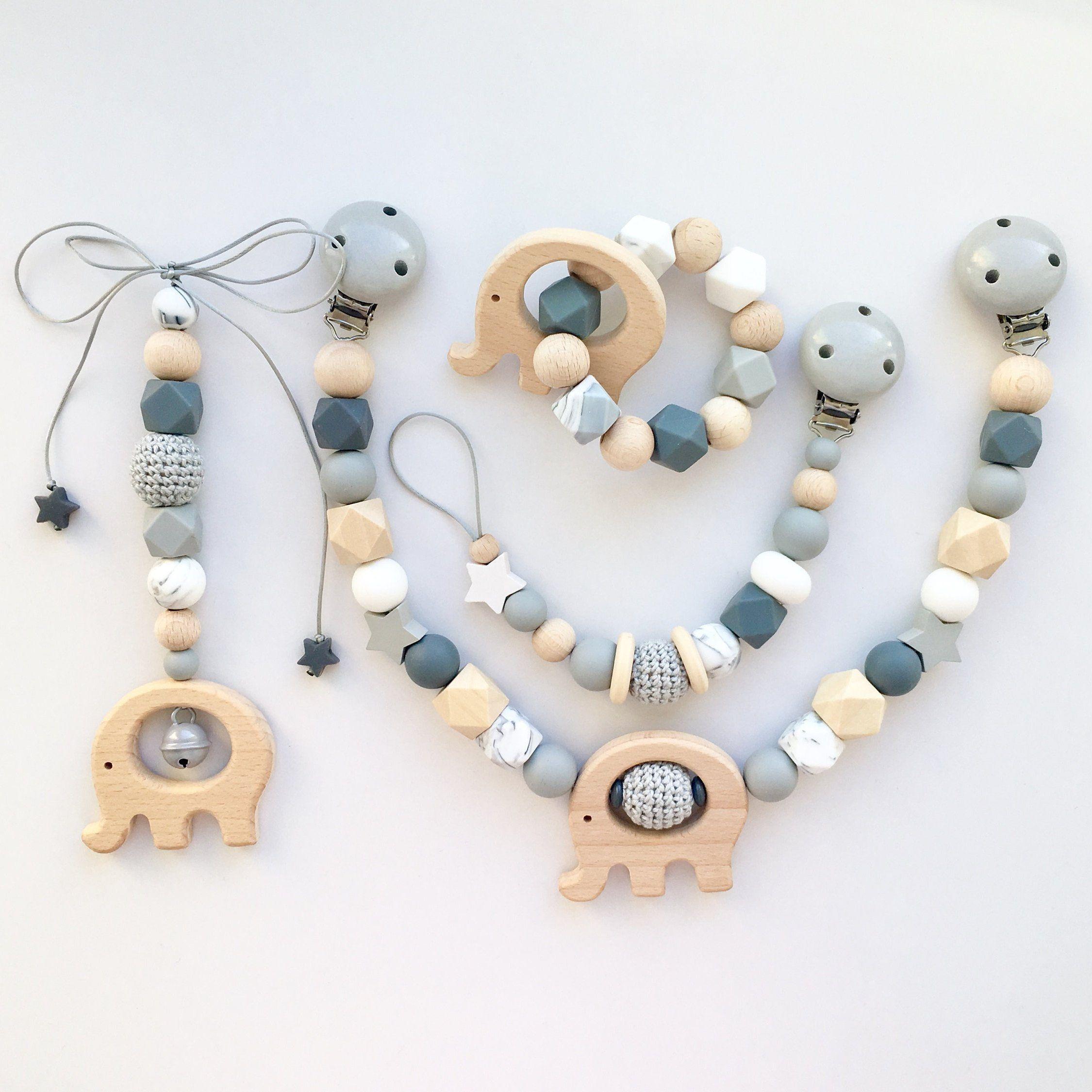 Photo of Kinderwagenkette, Schnullerkette, Beißkette, Maxi Cosy Set ideales Babygeschenk für Jungen