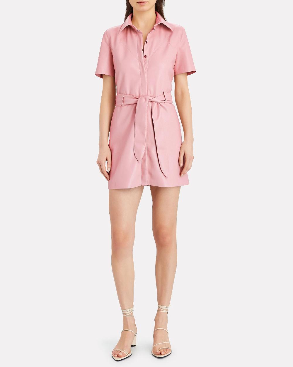 Nanushka Roberta Vegan Leather Shirt Dress | INTERMIX®